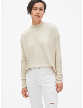Softspun Brushed Long Sleeve Mockneck Top by Gap