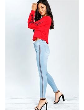 Side Striped Skinny Jeans by Papaya