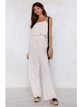 Get 'em On Broderie Jumpsuit by Nasty Gal