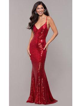 Long Sequin Open Back Mermaid V Neck Prom Dress by Promgirl