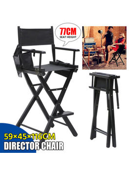 Professional Makeup Artist Tall Director Chair Wood Folding W/Side Camp&Amp; Fishing by Yaheetech