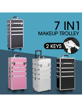 7 In 1 Portable Cosmetics Beauty Hairdressing Makeup Trolley Carry Bag Case Box by Unbranded