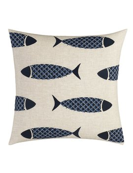 Nautica Lockridge Embroidered Fish Linen Throw Pillow & Reviews by Nautica