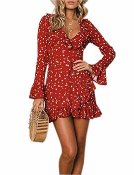 Relipop Women's Dress Floral Print Deep V Neck Flare Sleeve Short Dresses by Relipop