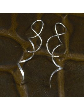 Spiral Silver Earrings / Long Spirals / Hammered Sterling Silver / Dangle / Twisted Metal / Metal With A Twist by Etsy