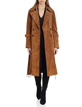 Avec Les Filles Women's Suede Mid Length Double Breasted Trench Coat by Avec+Les+Filles