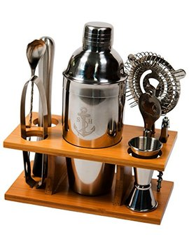Stock Harbor 9 Piece Stainless Steel Bartender Set With Bamboo Base Kitchen Accessories Cocktail Bar Tool Set by Stock Harbor