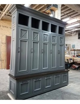 The Asheville Gray Mudroom Lockers Storage Bench Cubbies  Halltree Furniture Entryway Shoe Storage Coat Hook by Etsy