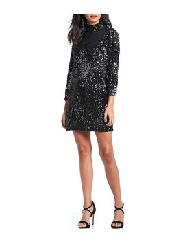Keep Your Heads Up Sequin Mock Neck Shift Dress by Sanctuary