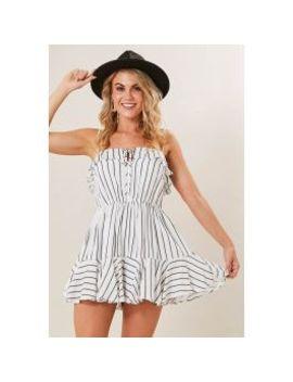 White Base Ruffle Hem Playsuit by Ally Fashion