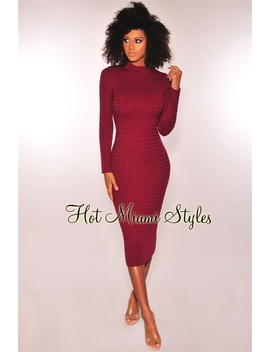 Wine Cable Knit Mock Neck Midi Sweater Dress by Hot Miami Style