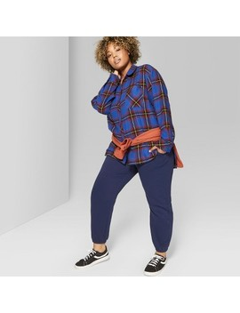Women's Plus Size Plaid Oversized Long Sleeve Button Down Top   Wild Fable™ Red by Wild Fable