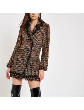 Black Boucle Double Breasted Jacket by River Island