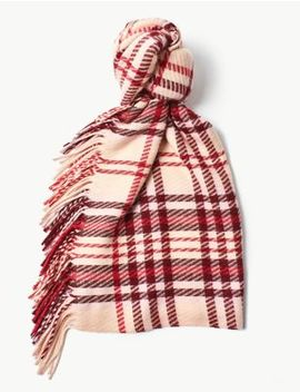 Tassel Checked Scarf by Marks & Spencer