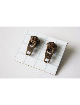 Industrial Copper Zipper Stud Earrings   Antique Copper   Ykk Zipper Studs   Zipper Jewelry   Retro   Mens Earrings   Womens Earrings by Etsy