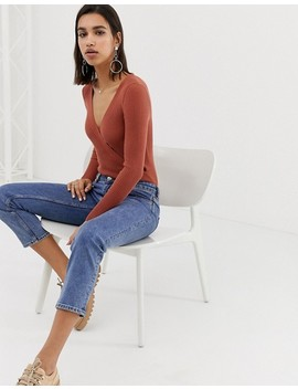 Asos Design Wrap Rib Knit Bodysuit by Asos Design