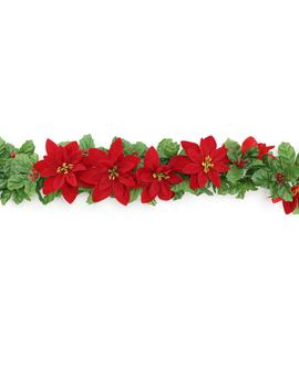 6ft. Velvet Poinsettia & Glitter Berry Chain Garland By Ashland® by Ashland