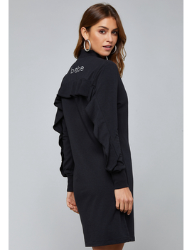 Logo Ruffle Back Zip Dress by Bebe