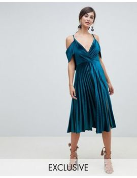 Asos Design Tall Pleated Velvet Cami Midi Dress With Cowl Back Detail by Asos Design