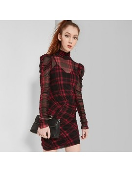 Women's Plaid Long Puff Sleeve Ruched Mesh Dress   Wild Fable™ Red by Wild Fable