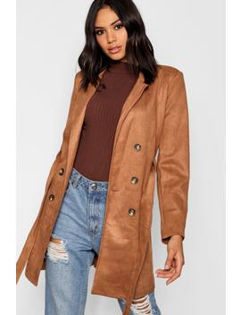 Double Breasted Suedette Jacket by Boohoo