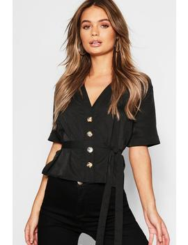 Button Down Belted Woven Shirt by Boohoo