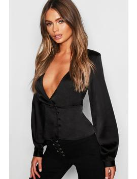 Satin Peplum Hem Wrap Blouse by Boohoo