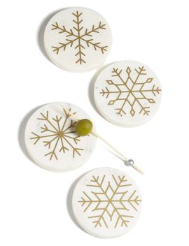 Snowflake Set Of 4 Marble Coasters by Nordstrom At Home