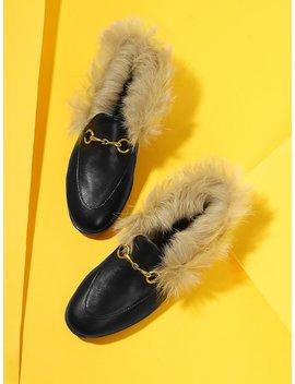 Contrast Faux Fur Flats by Sheinside