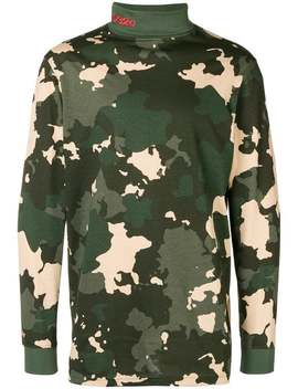 Camouflage Print Turtleneck Sweater by 032 C