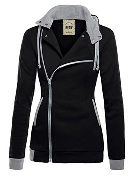 Djt Womens Oblique Zipper Slim Fit Hoodie Jacket by Djt