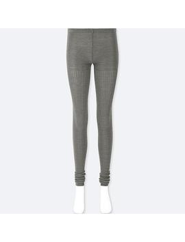 Women Heattech Knitted Extra Long Ribbed Leggings by Uniqlo