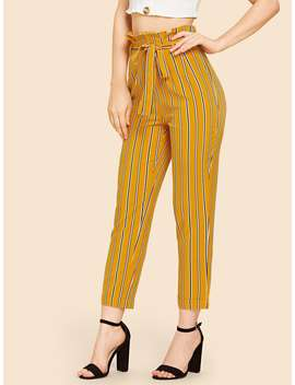 Self Tie Vertical Striped Pants by Romwe