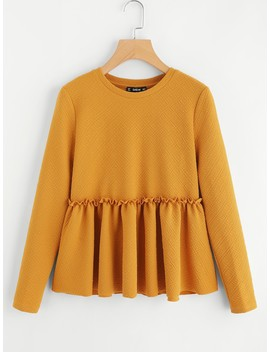 Frilled Detail Textured Smock Top by Shein