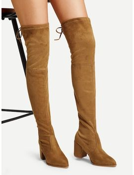 Over The Knee Self Tie Boots by Sheinside
