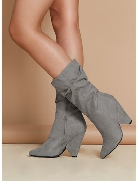 Pointed Toe Ruched Shaft Side Zip Cone Heel Boots by Sheinside
