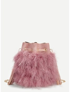 Feather And Tassel Detail Drawstring Crossbody Bag by Sheinside