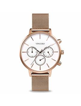 Vincero Luxury Woman's Kleio Wrist Watch With A Mesh Watch Band — 38mm Chronograph Watch — Japanese Quartz Movement by Vincero