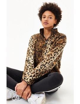 La Hearts Faded Leopard Half Zip Sweatshirt by Pacsun
