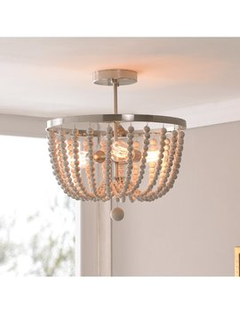 Bay Isle Home Tilden Wood Bead 3 Light Semi Flush Mount & Reviews by Bay Isle Home