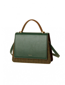 Emily Trapezoid Check Tote Bag Aaa097w Green Check by Andersson Bell