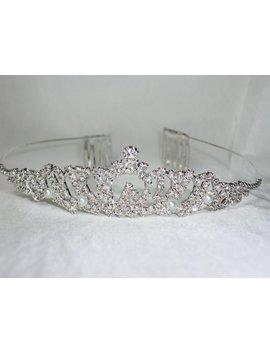 Rhinestone Pearl Tiara, Bridal Tiara, Wedding Tiara, Prom Tiara, Quenceanera Tiara, Rhinestone Tiara, Bridal Hairpiece, Rhinestone Headband, by Etsy