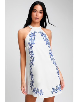 Fabiola White Embroidered Halter Shift Dress by Lulus