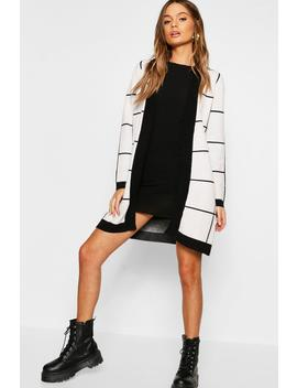 Oversized Check Pattern Cardigan by Boohoo