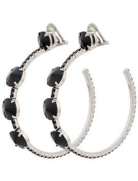 Black Crystal Oversize Hoop Earrings by Miu Miu