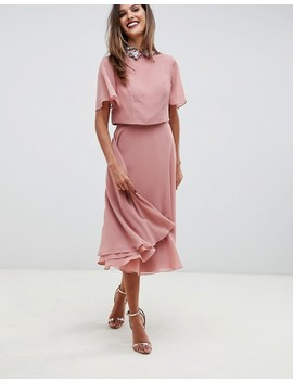 Asos Design Midi Dress With Crop Top And Embellished Collar by Asos Design