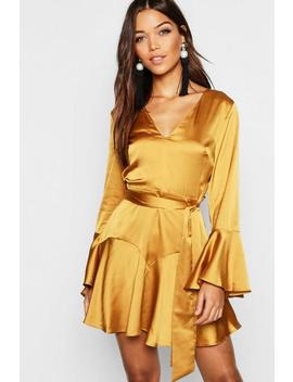 Satin Tie Waist Fit + Flare Skater Dress by Boohoo