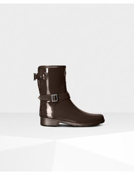 """<Span Itemprop=""""Name"""">Women's Refined Adjustable Short Gloss Rain Boots</Span>:                     <Span>Bitter Choc</Span> by Hunter"""
