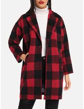 Plaid Single Button Outerwear by Romwe