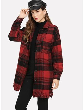 Fringe Detail Plaid Coat by Sheinside